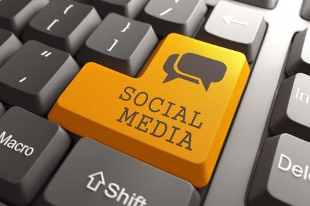 microblogging: Social Media  Orange Button on Computer Keyboard  Social Media Concept
