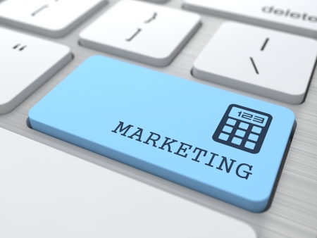 Marketing Concept  Marketing Word on Blue Computer Button  photo