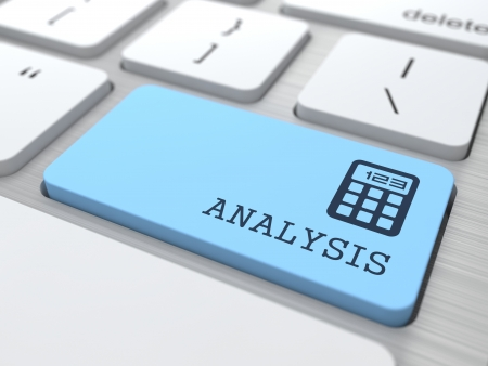 Data Analysis Concept  Analysis word on Blue Computer Button  Stock Photo - 19339139