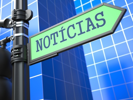 World News Concept  Word News on Sign  Portuguese  on Blue Background  photo