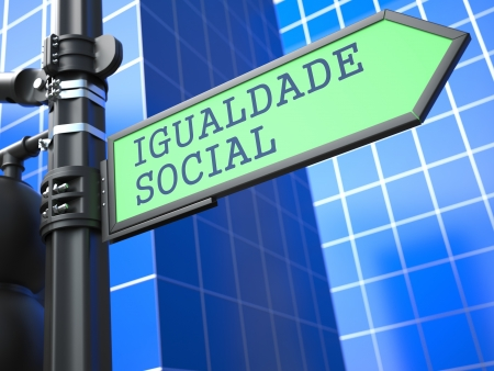 respectability: Social Concept  Social Equality Sign  Portuguese  on Blue Background  Stock Photo