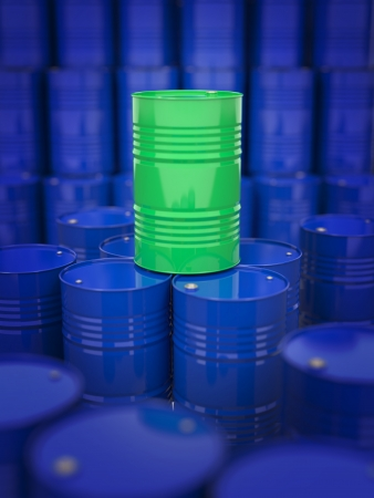 Oil and Petroleum  Green Oil Drum Standing on the Background of Blue Barrels  photo