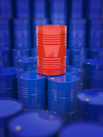 Oil and Petroleum  Red Oil Drum Standing on the Background of Blue Barrels Stock Photo - 19339165