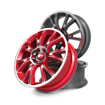 Car Rims, Red and Gray Rims isolated on White