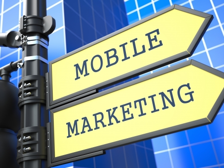 Business Concept  Mobile Marketing Sign on Blue Background  photo