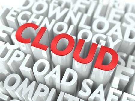 Cloud Technology Concept  The Word of Red Color Located over Text of White Color  Stock Photo - 19383332
