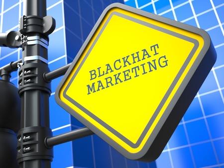 Business Concept  Blackhat Marketing Waymark on Blue Background  Stock Photo - 19383330