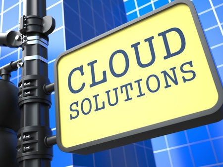 Internet Concept  Cloud Solutions Waymark on Blue Background  photo
