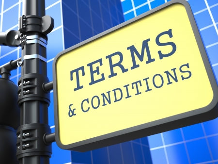 Business Concept  Terms and Conditions Waymark on Blue Background Stock Photo - 19383323