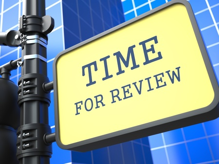 reviews: Business Concept  Time for Review Waymark on Blue Background  Stock Photo