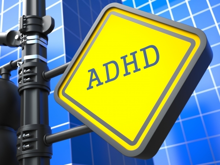 medico: Medical Concept  ADHD Waymark on Blue Background