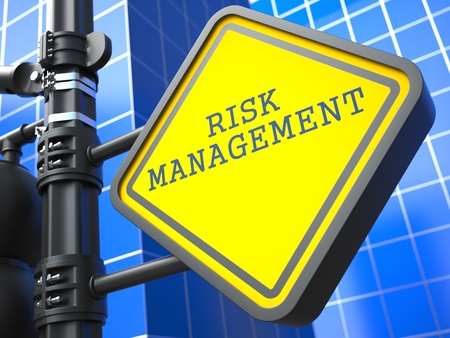 Business Concept  Risk Management Waymark on Blue Background  photo