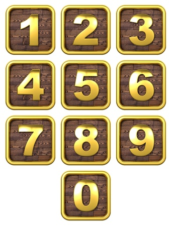 3D Set of Gold Metal Numbers, from 1 to 0  On Wooden Frame  photo