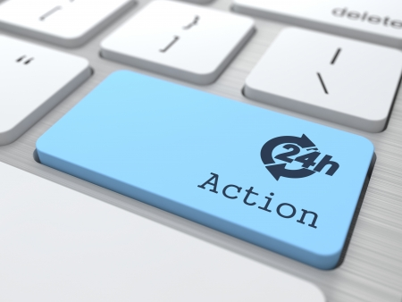 The Blue Action Button on Modern Computer Keyboard  3D Render  photo
