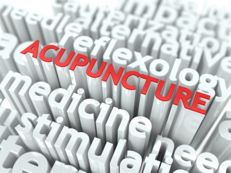 Acupuncture - Wordcloud Medical Concept  The Word in Red Color, Surrounded by a Cloud of Words Gray Stock Photo - 19585562