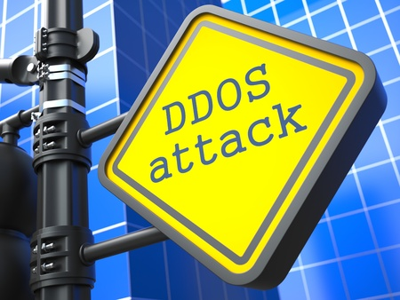 roadsign: Internet Concept  DDOS Attack Roadsign on Blue Background  Stock Photo