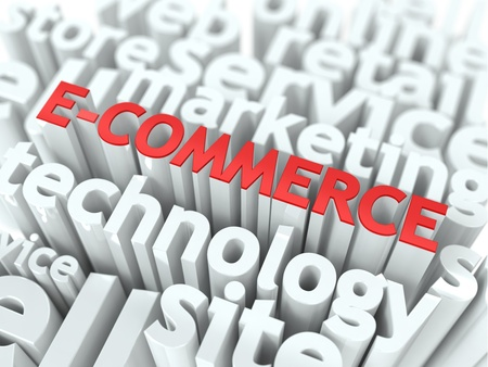E-Commerce  The Wordcloud Business Concept  The Word in Red Color, Surrounded by a Cloud of Words Gray  photo