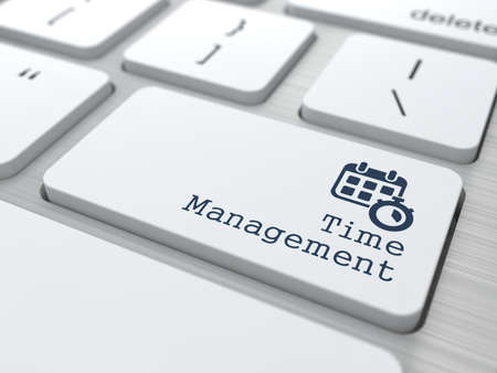 Management Concept  Button  Time Management  on Modern Computer Keyboard with Word Partners on It  photo