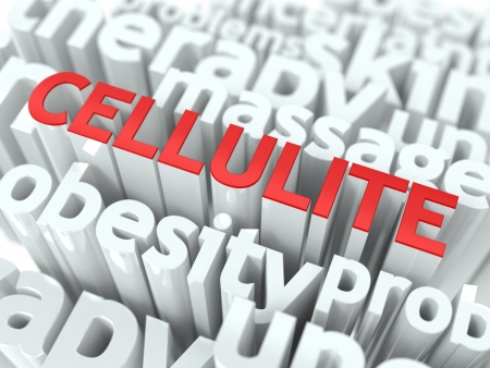 cellulite: Cellulite - Wordcloud Medical Concept  The Word in Red Color, Surrounded by a Cloud of Words Gray