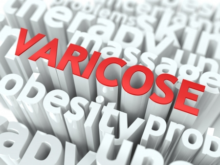 varicose: Varicose - Wordcloud Medical Concept  The Word in Red Color, Surrounded by a Cloud of Words Gray