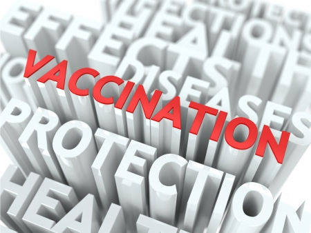 Vaccination - Wordcloud Medical Concept  The Word in Red Color, Surrounded by a Cloud of Words Gray  Stock Photo - 19665801