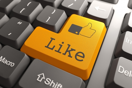 Like  - Orange Button on Computer Keyboard  Social Media Concept  Stock Photo - 19665823