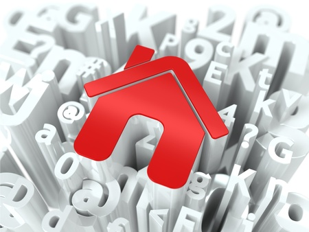 Red Home Sign on Alphabet Background  Background for Your Blog or Publication  photo