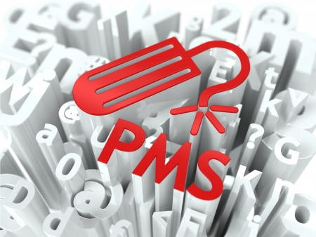 premenstrual syndrome: Red PMS  premenstrual  syndrome  on Alphabet Background  Humorous Warning