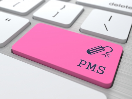 pms: PMS  premenstrual  syndrome  on Red Button  Humorous Warning  Stock Photo