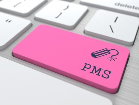 premenstrual: PMS  premenstrual  syndrome  on Red Button  Humorous Warning  Stock Photo