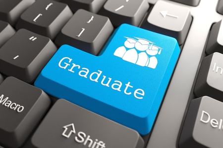 Blue  Graduate  Button on Computer Keyboard  Background for Your Blog or Publication  photo