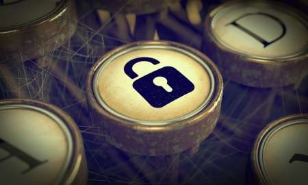 Padlock on Old Typewriter Button  Security Concept  Grunge Background for Your Publications Stock Photo - 19974530