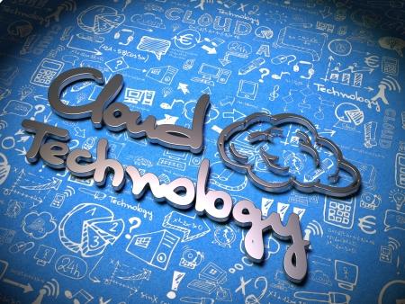 infraestructura: Slogan Tecnolog�a Nube hecha de metal en el fondo con caracteres escritos a mano concepto de nube Foto de archivo