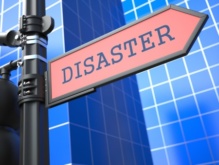 Disaster Concept   Disaster  Red Roadsign Arrow on Blue Background  photo