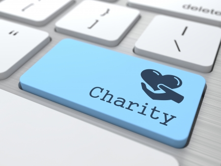 Social Concept  Charity Button on Modern Computer Keyboard  photo