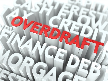 overdraft: Overdraft - Wordcloud Concept  The Word in Red Color, Surrounded by a Cloud of Words Gray  Stock Photo