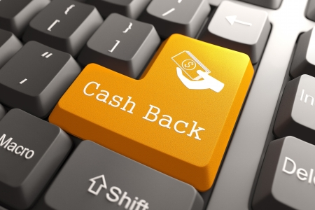 refund: Cash Back - Orange Button on Computer Keyboard  Internet Concept