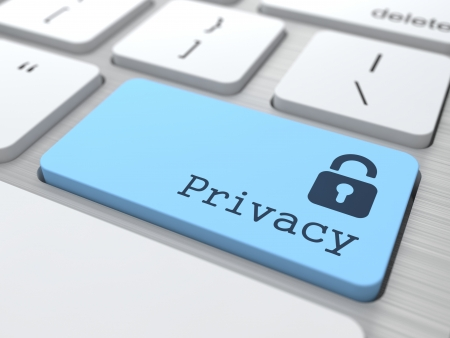 Concepto de Privacidad. Botón azul con el icono de un candado en el teclado de ordenador moderno. Render 3D. Foto de archivo - 20936717