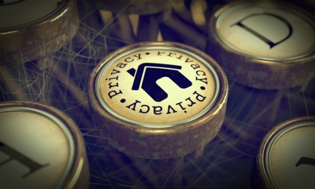 Privacy Button with Home Icon on Old Typewriter. Grunge Background for Your Publications. 3D Render. photo