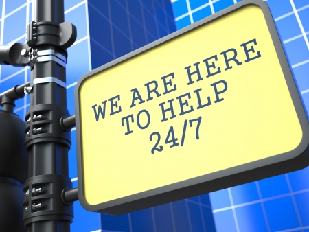 available time: Service Concept  Hour Assistance Roadsign on Blue Background