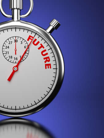 Future  Business Concept  Stopwatch with  Future  word on a blue background  3D Render Stock Photo - 21362050