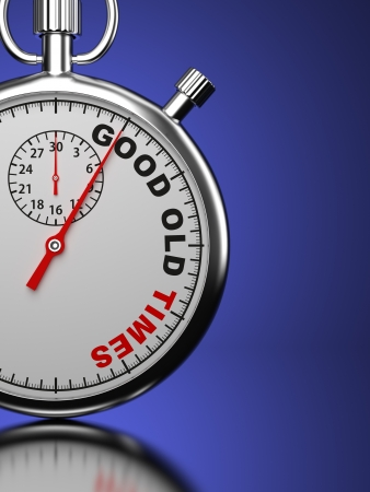 old times:  Good Old Times  Business Concept  Stopwatch with  Good Old Times  slogan on a blue background  3D Render  Stock Photo