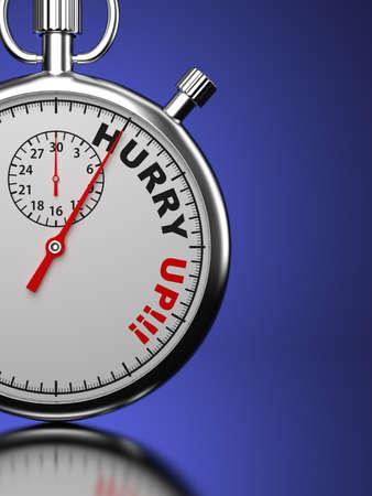 hurry up: Hurry Up Business Concept Cronometro con Hurry Up slogan su sfondo blu Rendering 3D