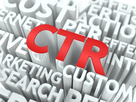 CTR - Click Through Rate Wordcloud Concept. The Word in Red Color, Surrounded by a Cloud of Words Gray. photo
