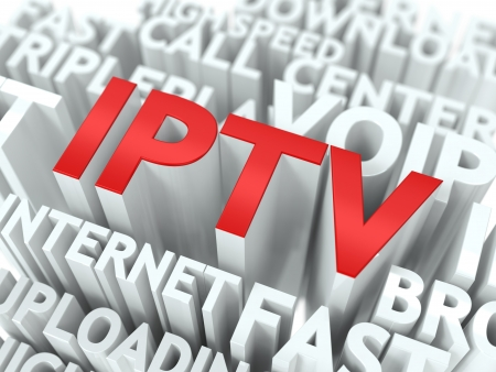 IPTV - Wordcloud Internet Concept. The Word in Red Color, Surrounded by a Cloud of Words Gray. photo