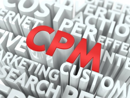CPM - Industry Global Standard Wordcloud Concept. The Word in Red Color, Surrounded by a Cloud of Words Gray. photo