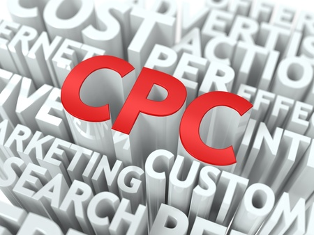 cpc: CPC - Cost Per Click Wordcloud Concept. The Word in Red Color, Surrounded by a Cloud of Words Gray.