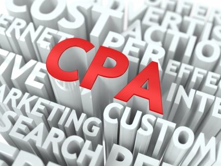 cpa: CPA - Critical Path Analysis Wordcloud Concept. The Word in Red Color, Surrounded by a Cloud of Words Gray. Stock Photo