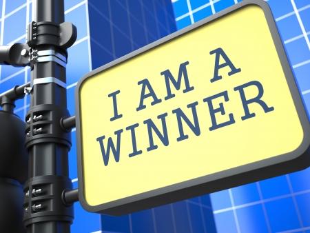 roadsign: I am a Winner - Roadsign on Blue Background. Business Concept.