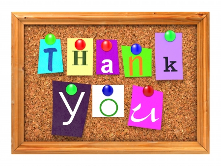 Thank You Concept Letters Attached to a Cork Bulletin or Message Board with Thumbtacks. 3D Render.